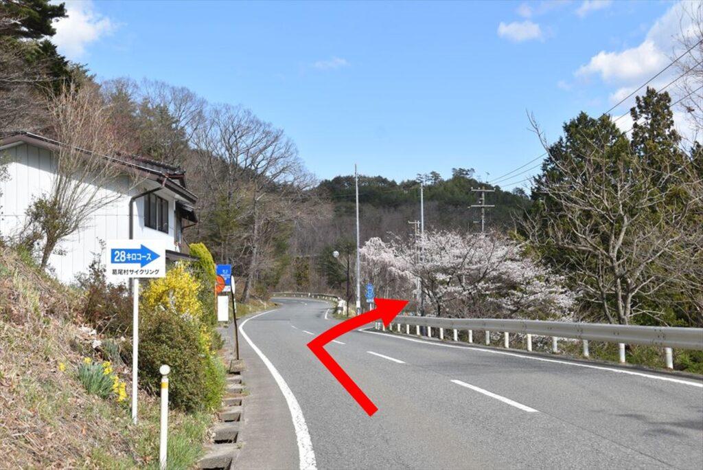 <ツールドかつらお28kmコース・ポイント1>スタートから約0.65km